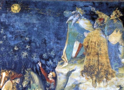 detail from the fresco The Appearance of the Star, by Giovanni da Modena, c.1412, Basilica di San Petronio, Bologna, Italy