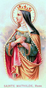 Saint Matilda of Saxony holy card, date and artist unknown