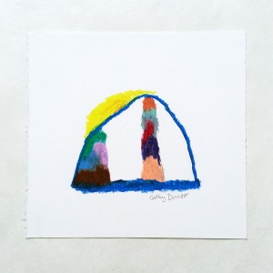 """Tent with Color Towers 4"", oil pastel drawing by Cathy Durso"