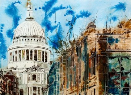 ©2012 - Cathy Read - The Life of London Churches- Mixed Media- 56x76cm