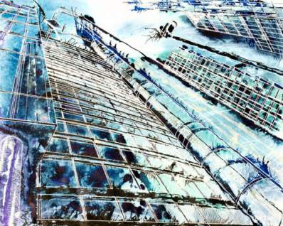 ©2013 - Cathy Read - Anonymous in the City - Watercolour and Acrylic- 40 x 50 cm