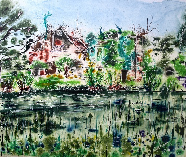 ©2016-Cathy-Read-Landscape-Artist-of-the-Year-Scotney-Castle-Painting-Watercolour-and-Acrylic