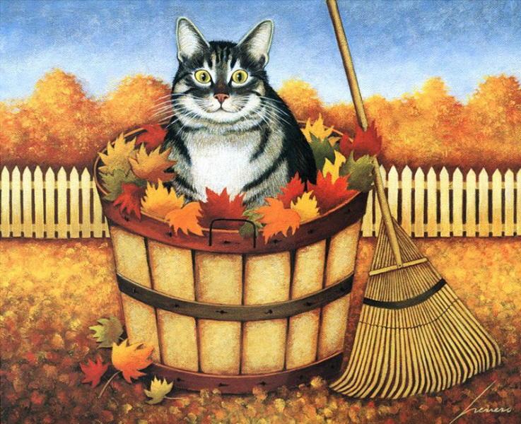 Fall Harvest Desktop Wallpaper Autumn Cat Paintings Lowell Herrero