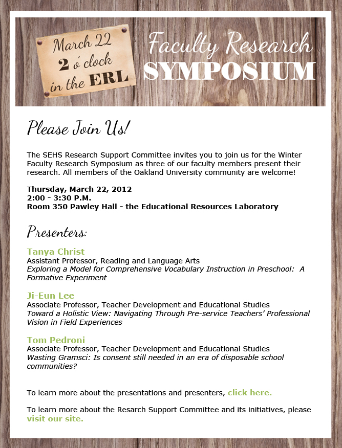 Email Invitation \u2013 Faculty Research Symposium Cathleen Spayde