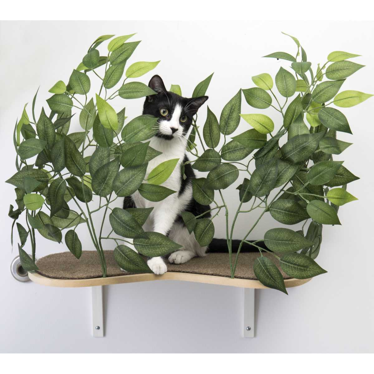 Outdoor Cat Shelves Canopy Cat Wall Shelves With Leaves Set Of 2