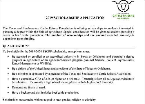 TSCRF Scholarship Application \u2013 Cattle Raisers Museum
