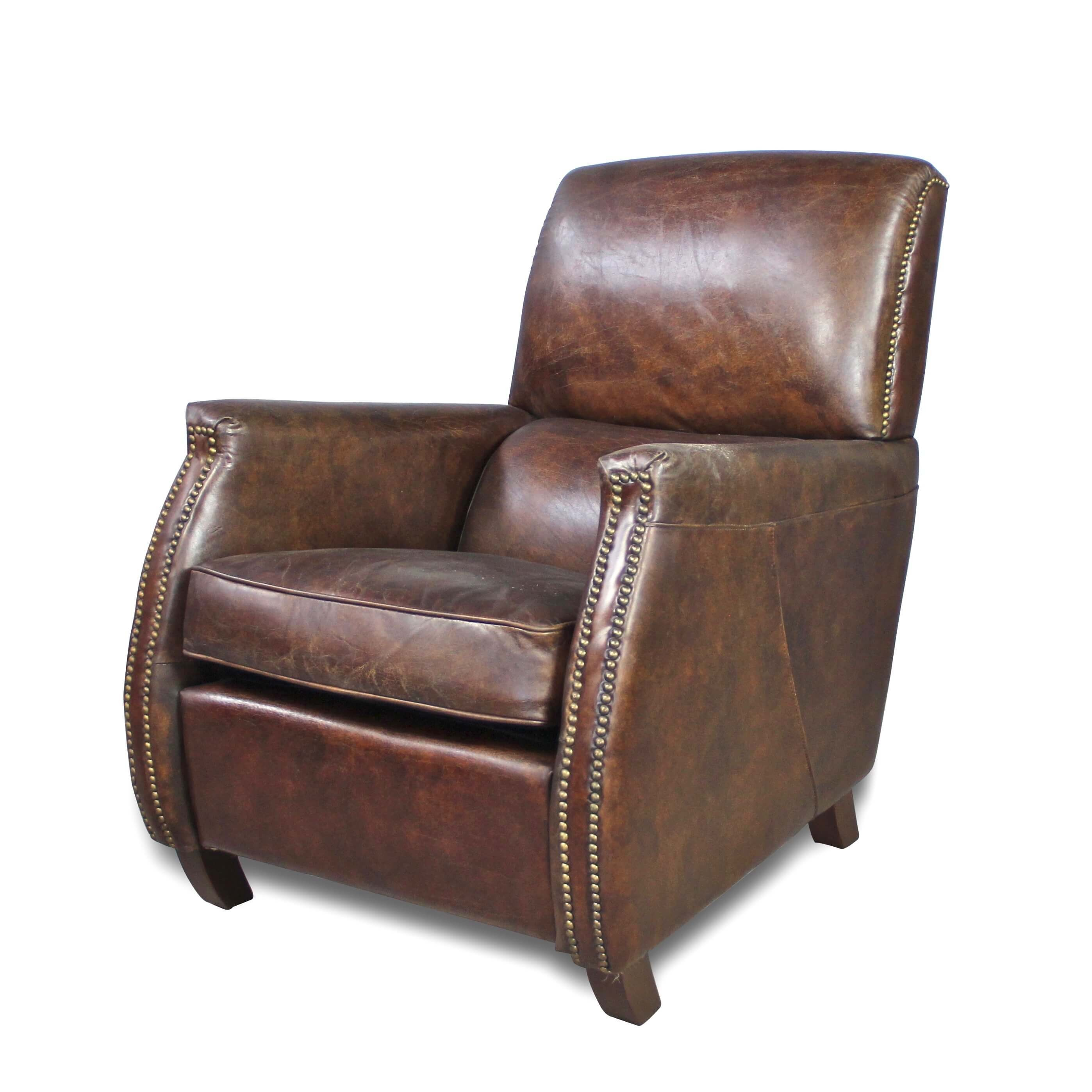 Canape Club Cuir Marron Fauteuil Confortable Club Vintage En Cuir Patiné Couleur Marron Patiné