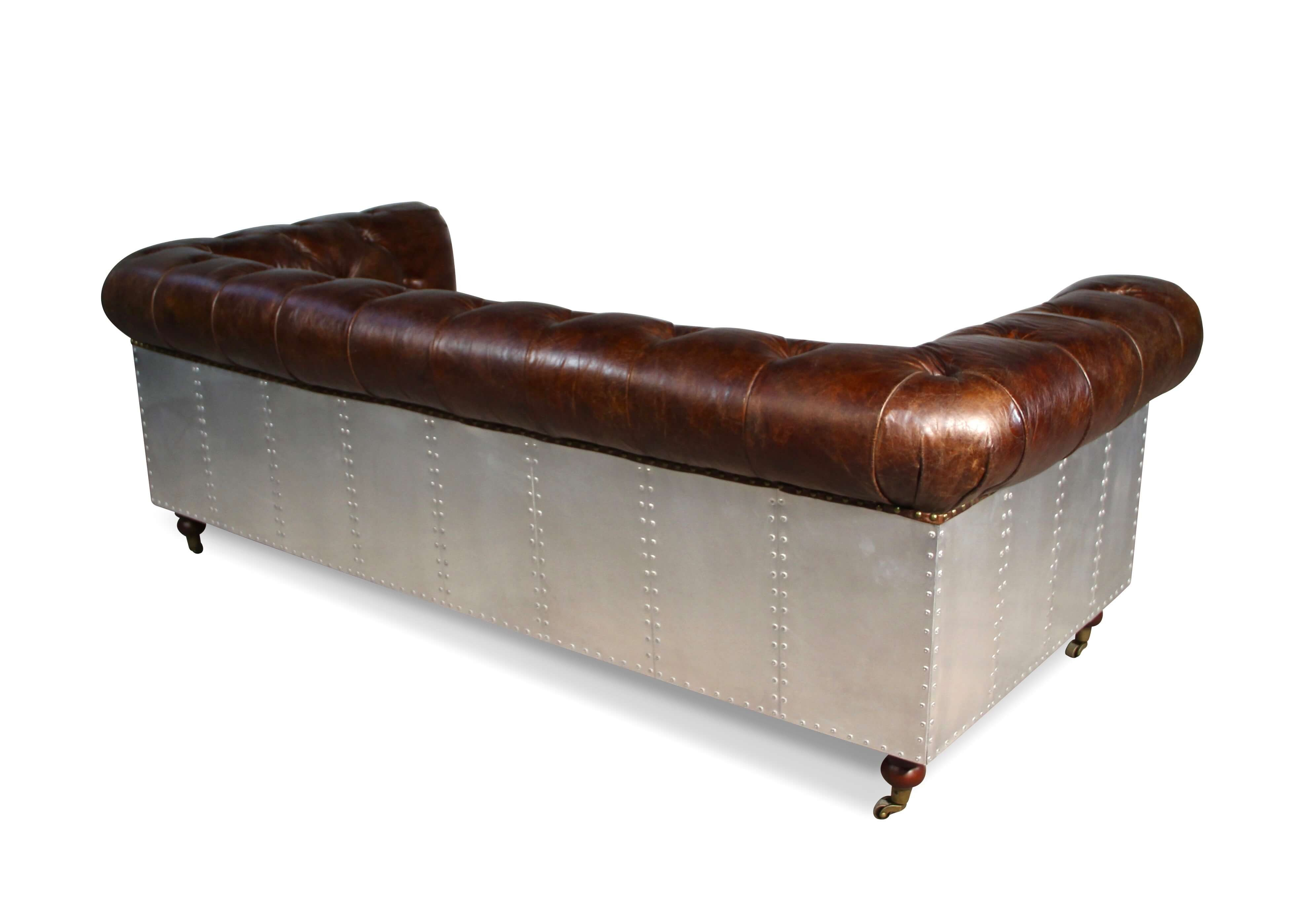 Canape Marron Vintage Canapé Chesterfield Style Aviateur 3 Places Cuir Marron Et