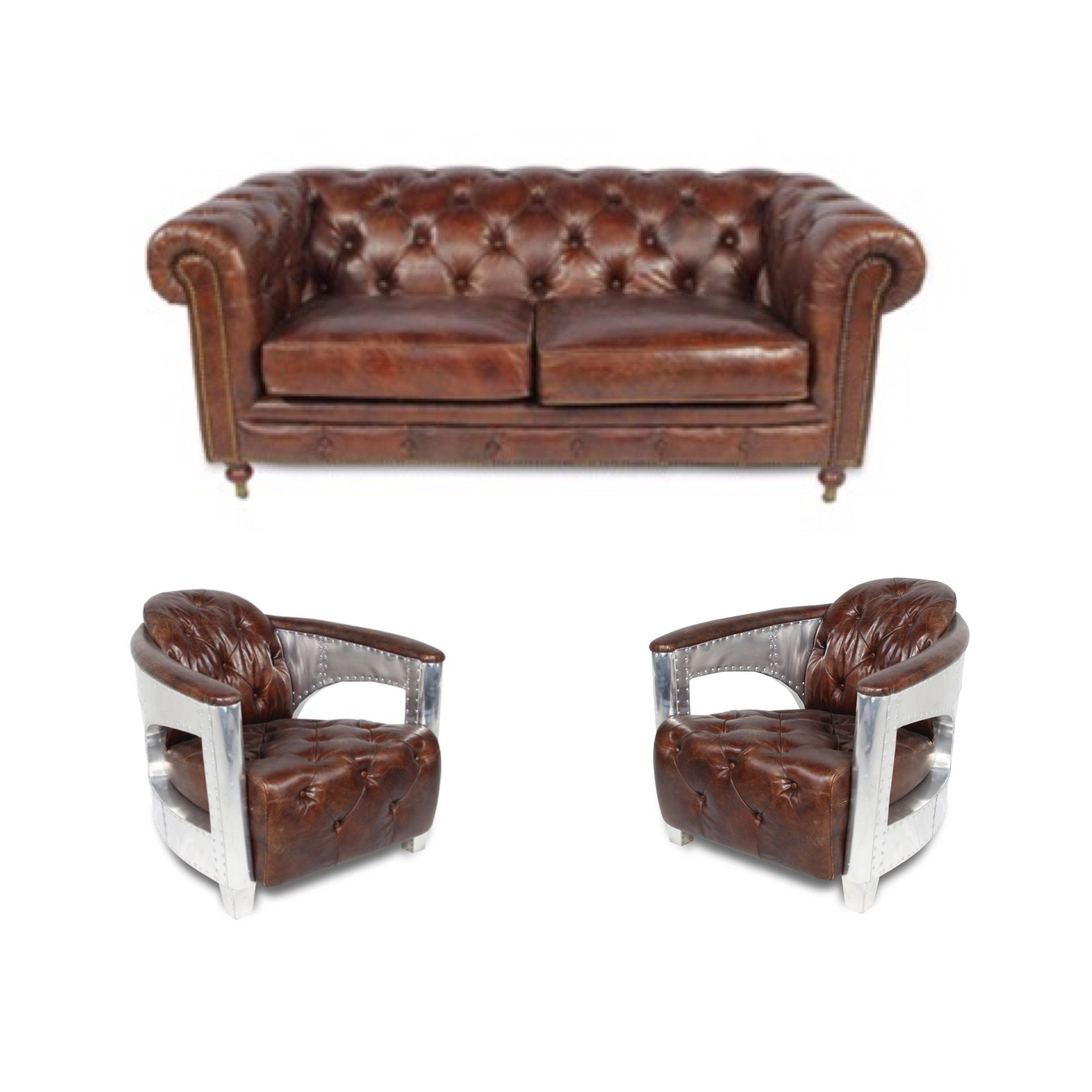 Fauteuil Chesterfield Origine Ensemble Chesterfield En Cuir Marron Vintage Capitonné Deux