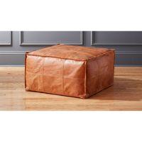 Medium Square Leather Ottoman-Pouf + Reviews | CB2