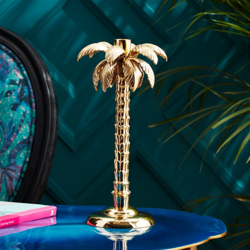 Wohnung Design App Palm Tree Gold Taper Candle Holder + Reviews | Cb2