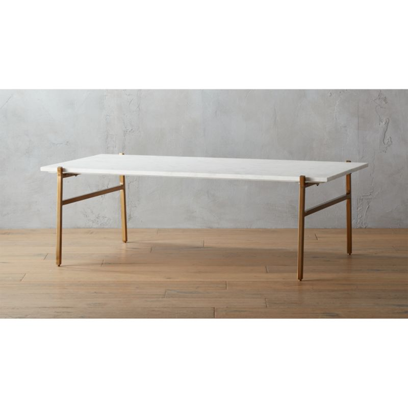 Slab Large Marble Coffee Table With Brass Base Reviews Cb2