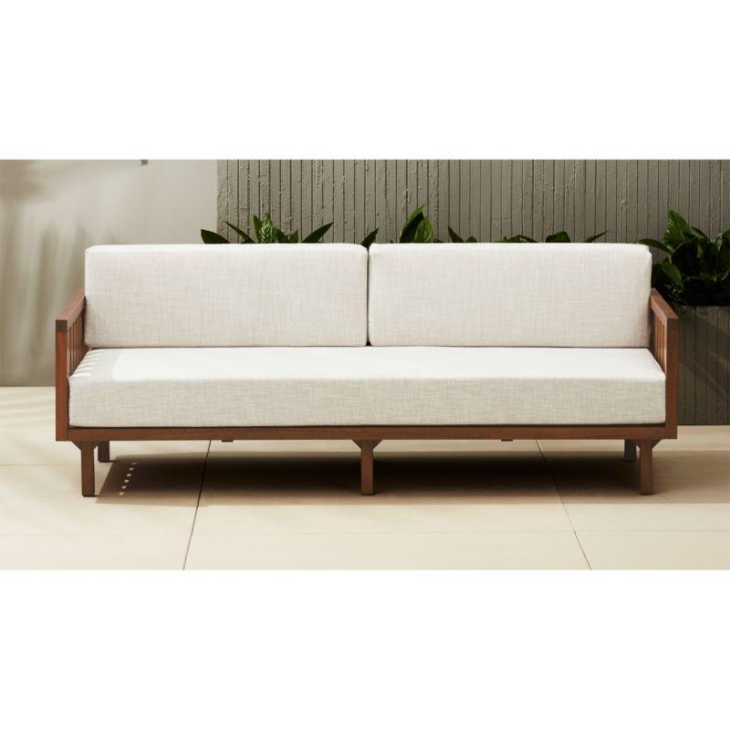 Tropez Outdoor Wood Sofa Reviews Cb2