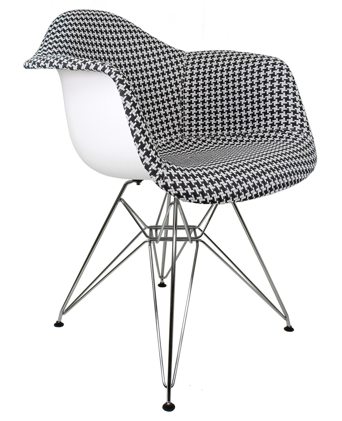 Unique Accent Chair Designer Houndstooth Pattern Woven Fabric Upholstered