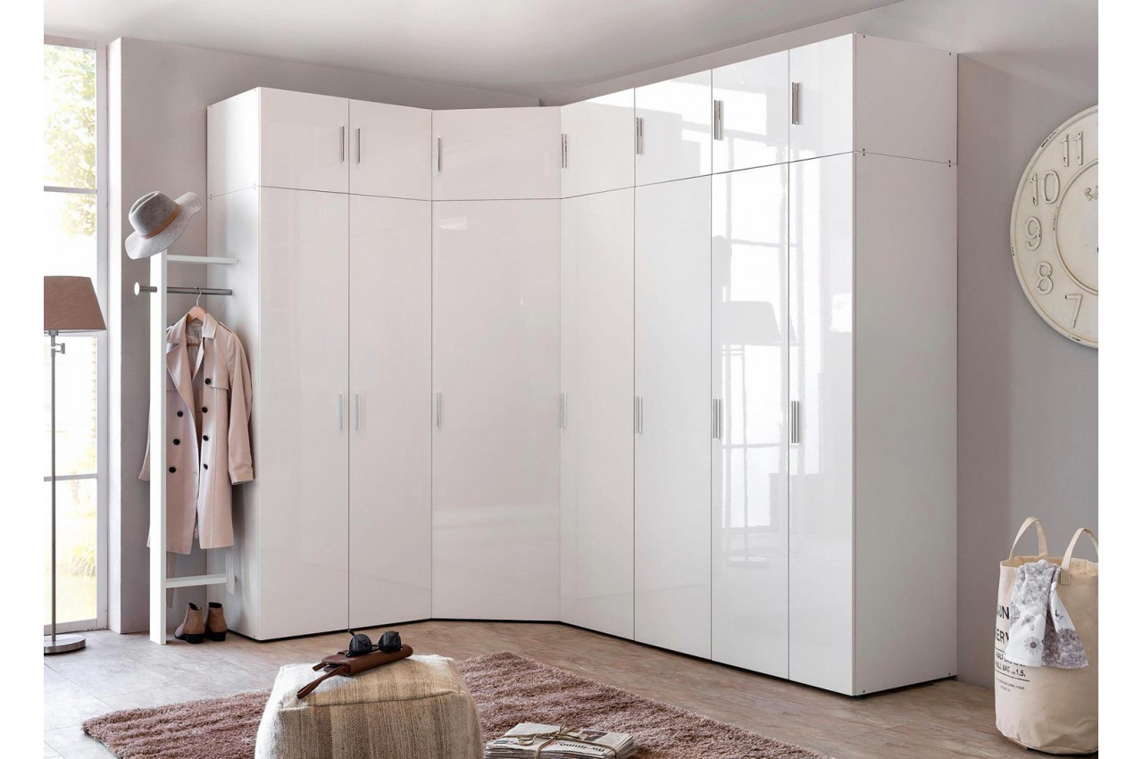 Armoire Dressing Entree Armoire D Angle Dressing Blanc Brillant Design Cbc Meubles
