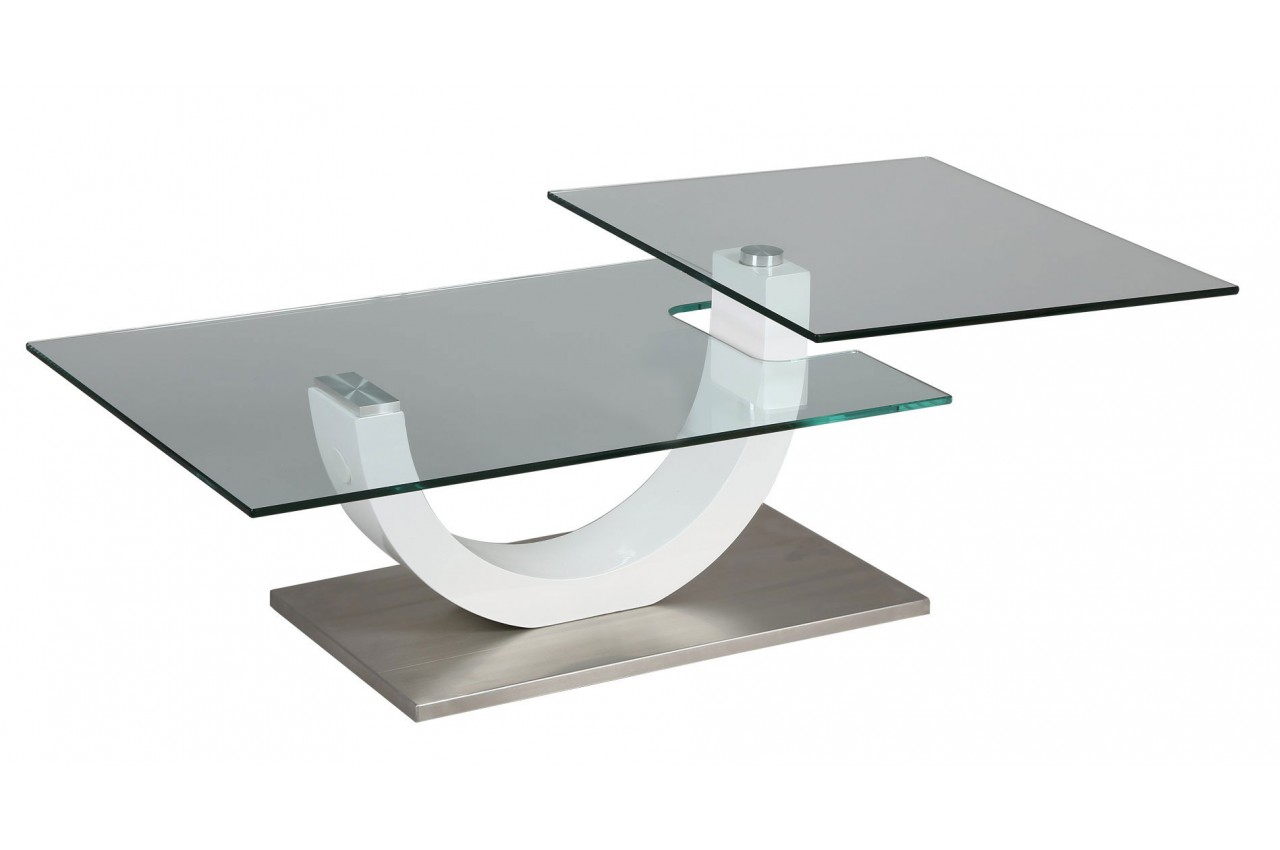 Table Basse Blanche Design Table Basse Design Verre Et Laque Blanc Plateau Pivotant Milova