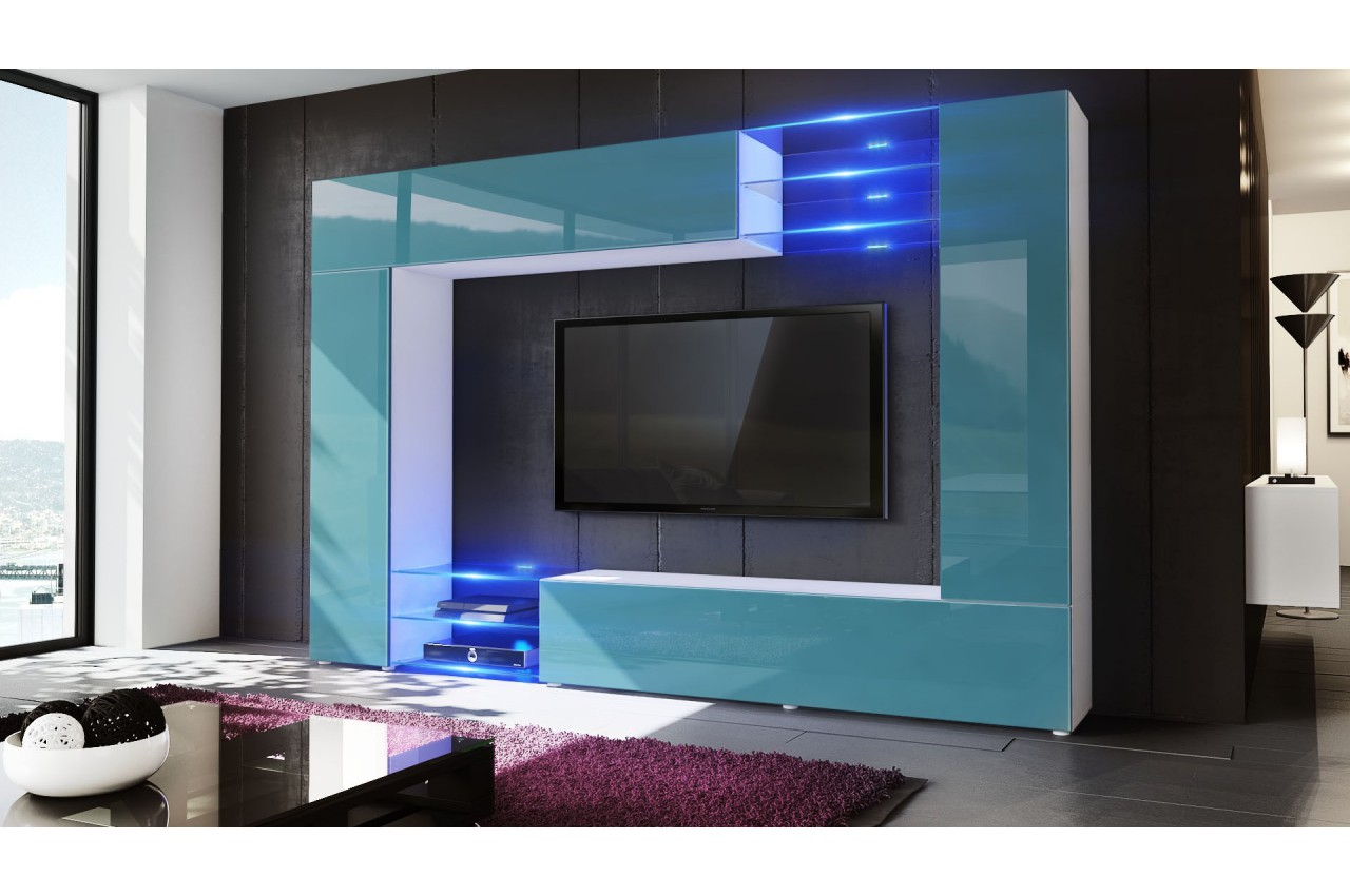 Ensemble Chambre Adulte Meuble Tv Mural Led Samba - Cbc-meubles