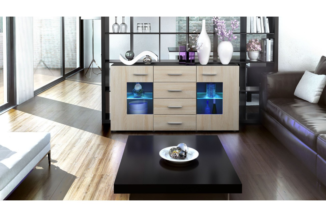 Buffet Design Noir Buffet Design Noir 4 Tiroirs London Cbc Meubles