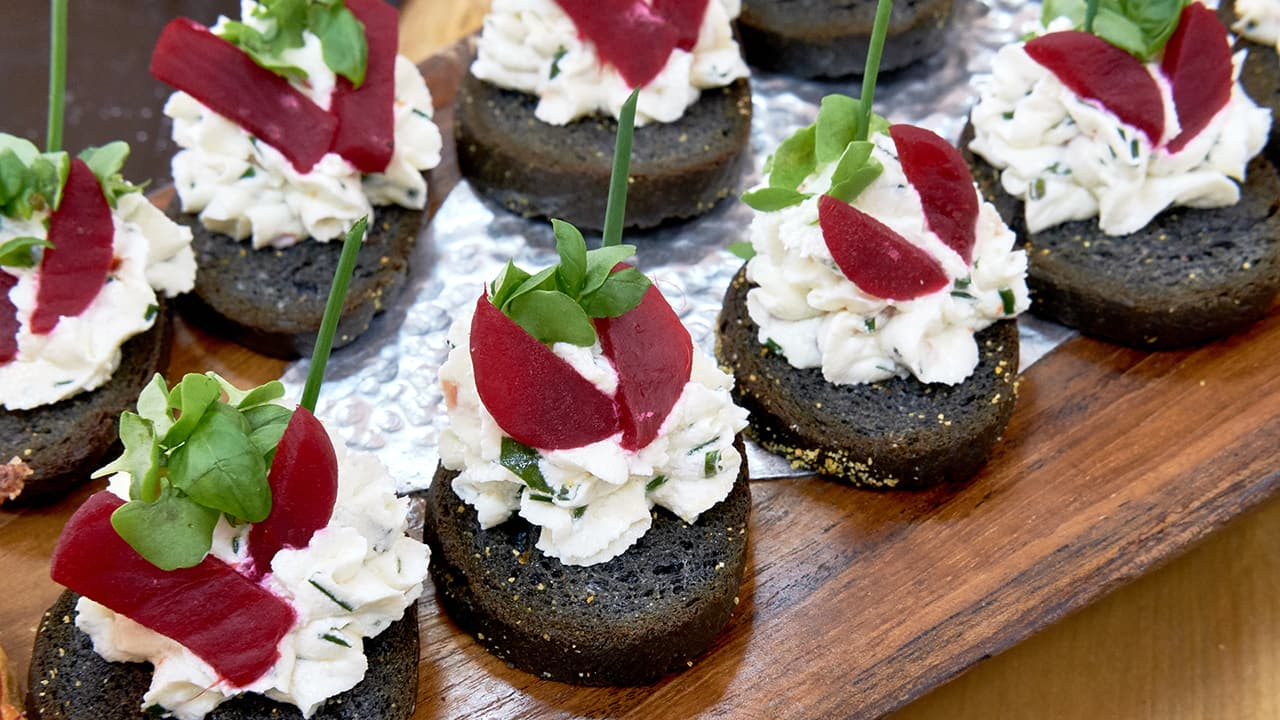 Canapés Charcoal Baguette Beet And Goat Cheese Canapés