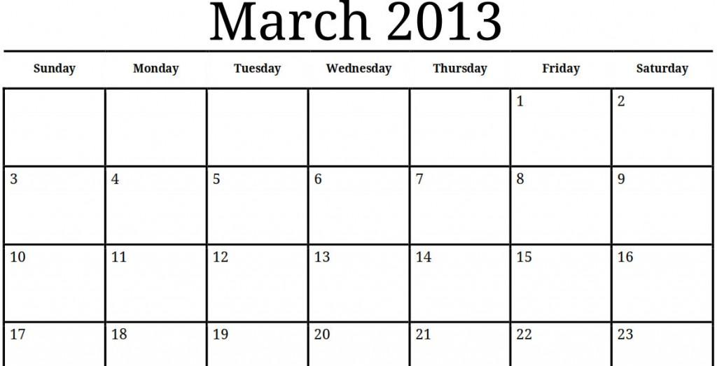 Printable March Calendar » Calendar Template 2018