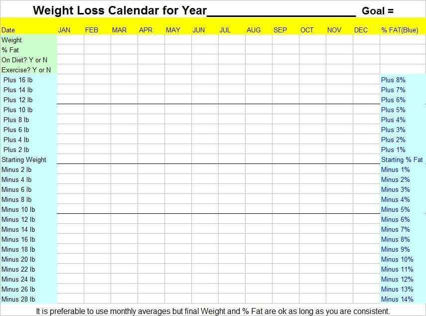 Weight Loss Calendar Printable » Calendar Template 2018