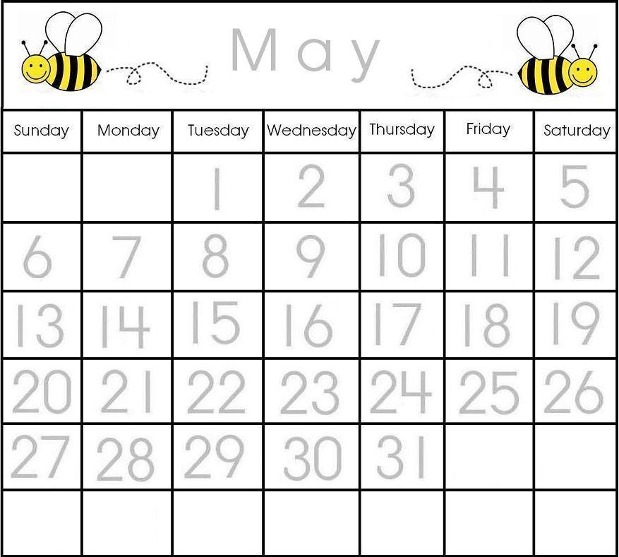 Calendar Templates For Kindergarten 13 printable calendar numbers