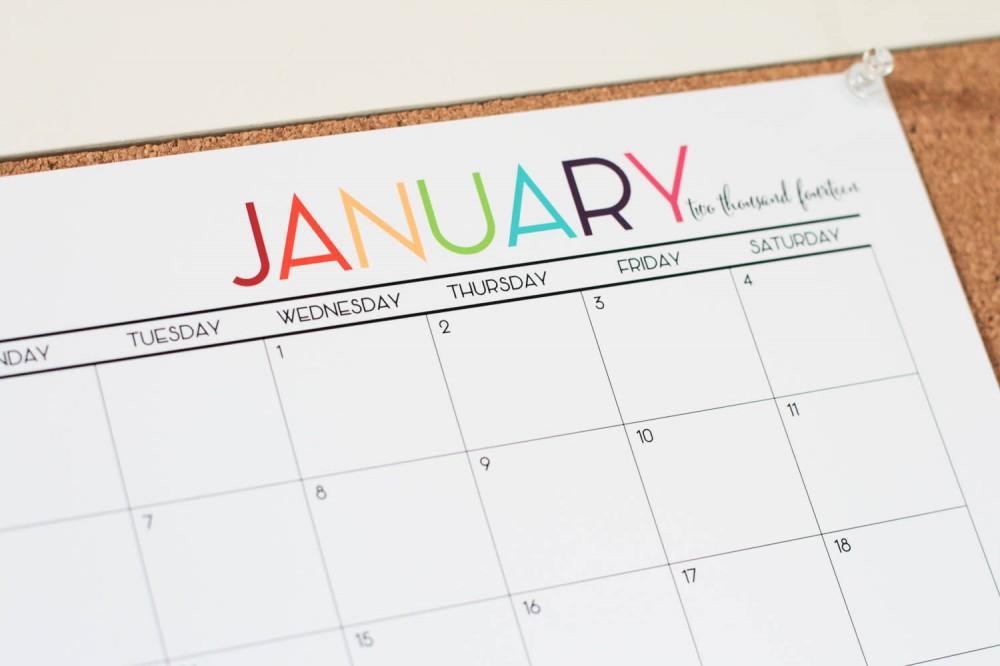 Colorful Printable 2015 Monthly Calendar - Worksheet  Coloring Pages - free printable monthly calendar