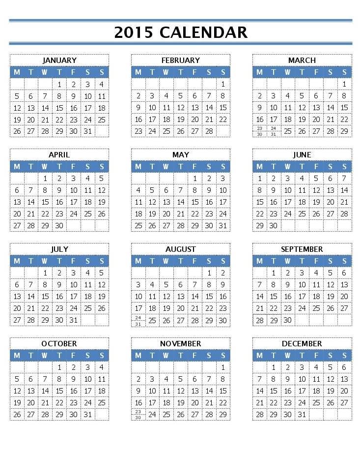 Printable One Year Calendar » Calendar Template 2017 - annual calendar template