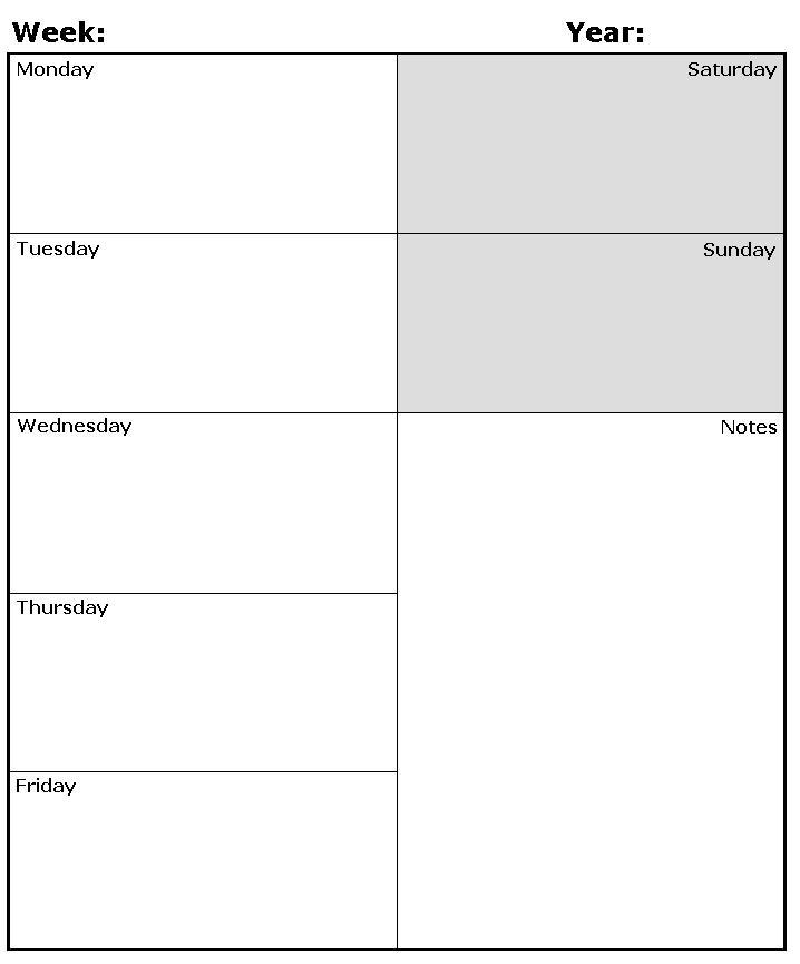 Printable Calendar Weekly Planner » Calendar Template 2018