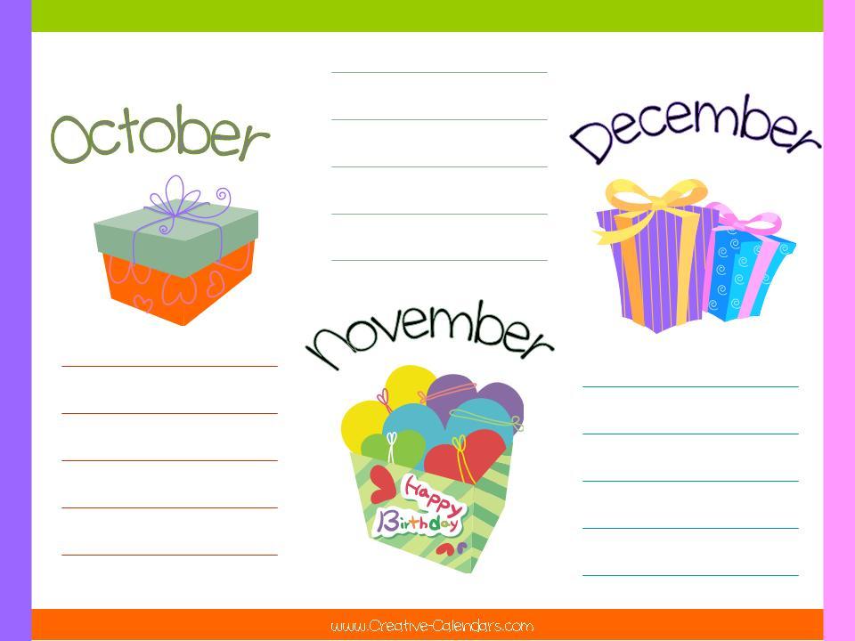 Printable Birthday Calendar Template » Calendar Template 2018 - birthday calendar template