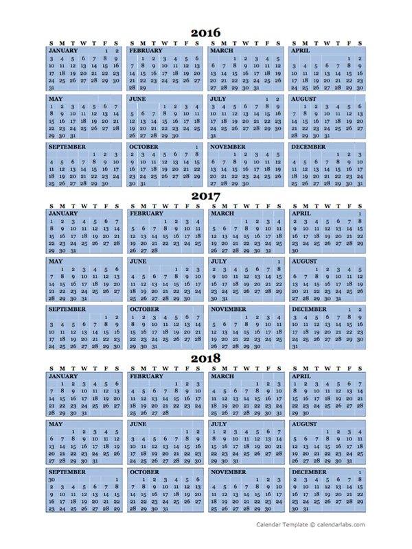 Three Year Calendar Printable Free \u2013 Calendar Template 2019