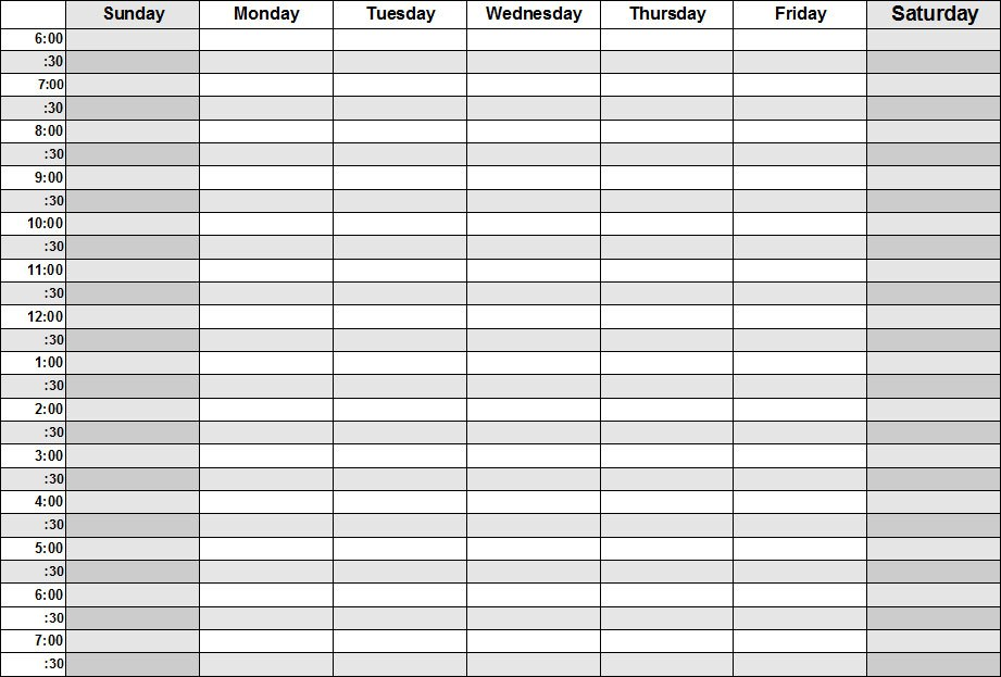 Daily Calendar With Times » Calendar Template 2018 - weekly schedule printable with times