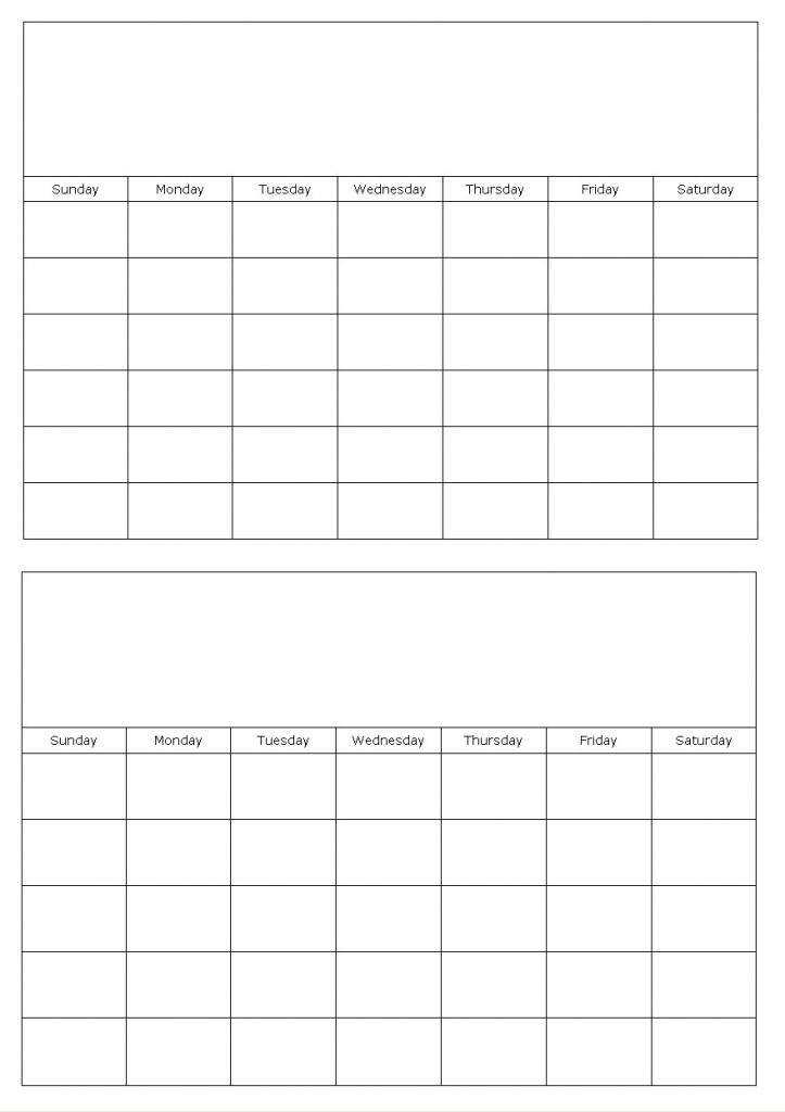 2 Month Calendar Template » Calendar Template 2018