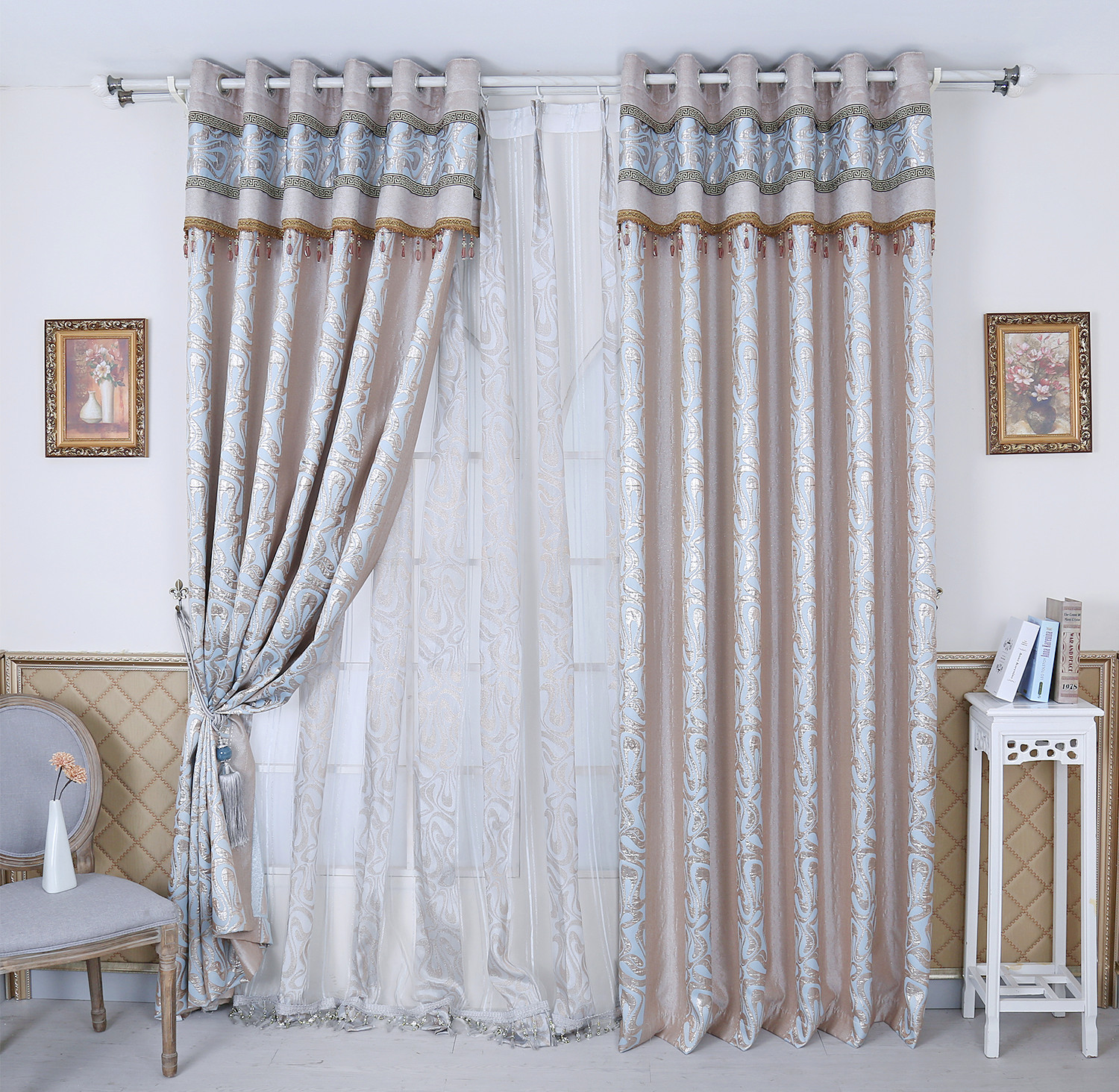 Jacquard Curtains Curtains Screens Rayon Gold Jacquard Curtains Finished Curtain