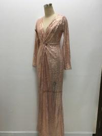 Women Gold Sequin Long V neck Evening Dress Long Sleeve ...