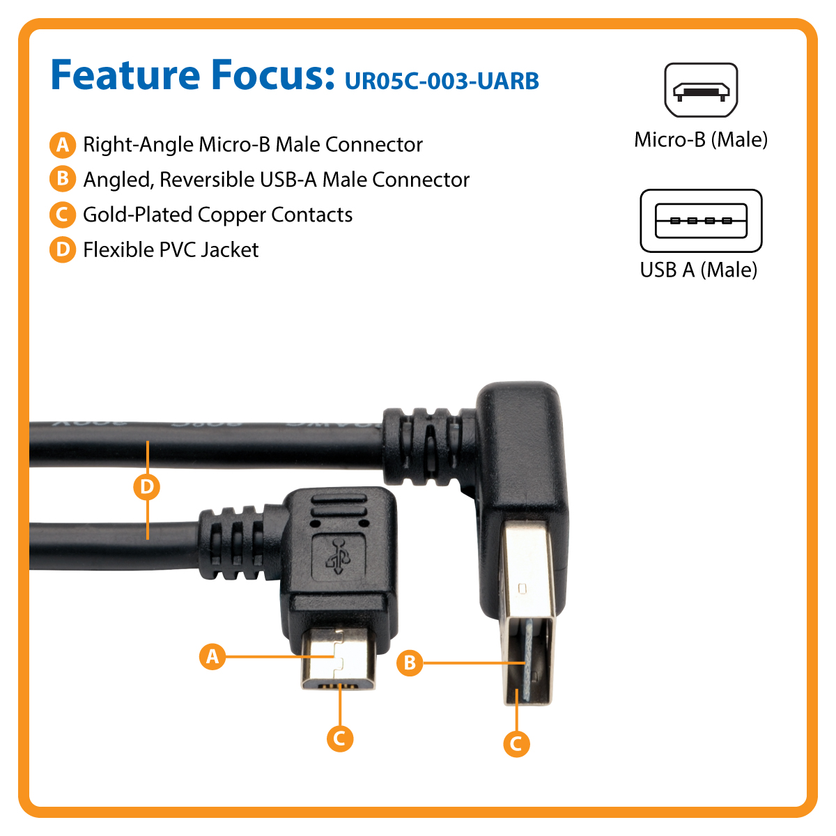 Angle Reversible Tripp Lite Dedicated Reversible Usb Charging Cable Up Down Angle Reversible A To Right Angle 5 Pin Micro B Black 91 M 3 Ft