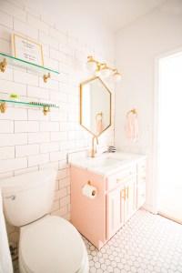 Modern Glam Blush Girls Bathroom Design | CC and MIke ...