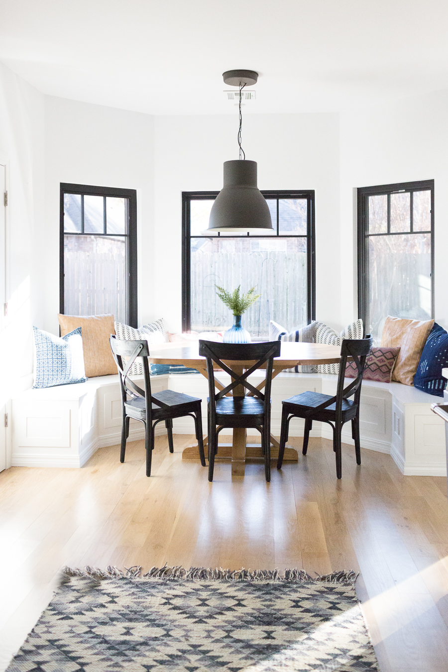 Tulsa Remodel Reveal Modern White Farmhouse Black Windows And Doors Black Windows And Doors Built In Window Seat Banquette Dining Room Black Pendant Lighting 1 Cc Mike