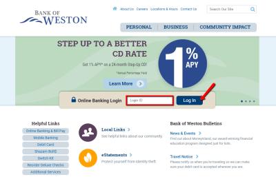 Bank of Weston Online Banking Login - CC Bank