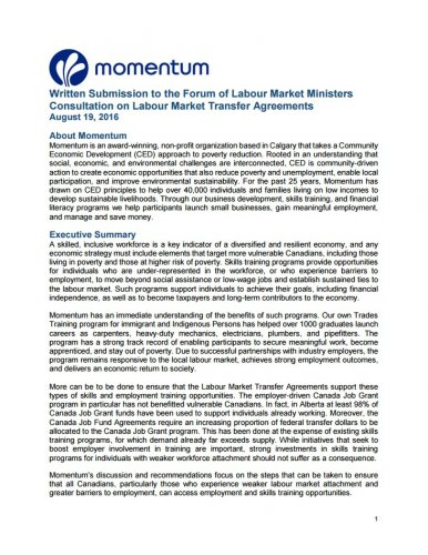 Momentum Recommendations on Labour Market Transfer Agreements The - transfer agreements