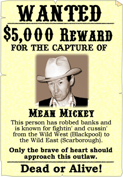 Wanted poster - example of a wanted poster