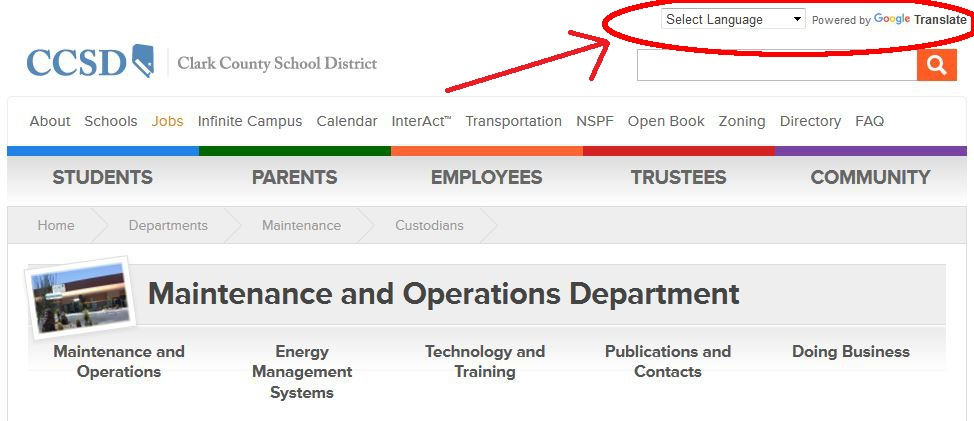 Custodians Maintenance and Operations Department CCSD