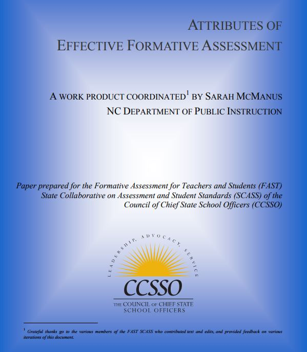 Attributes of Effective Formative Assessment CCSSO