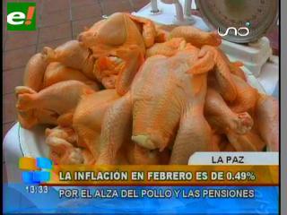 Inflación en Bolivia fue de 0.49% en febrero