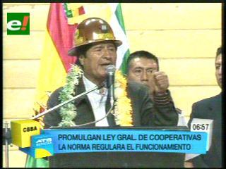 Presidente Morales promulga la Ley General de Cooperativas