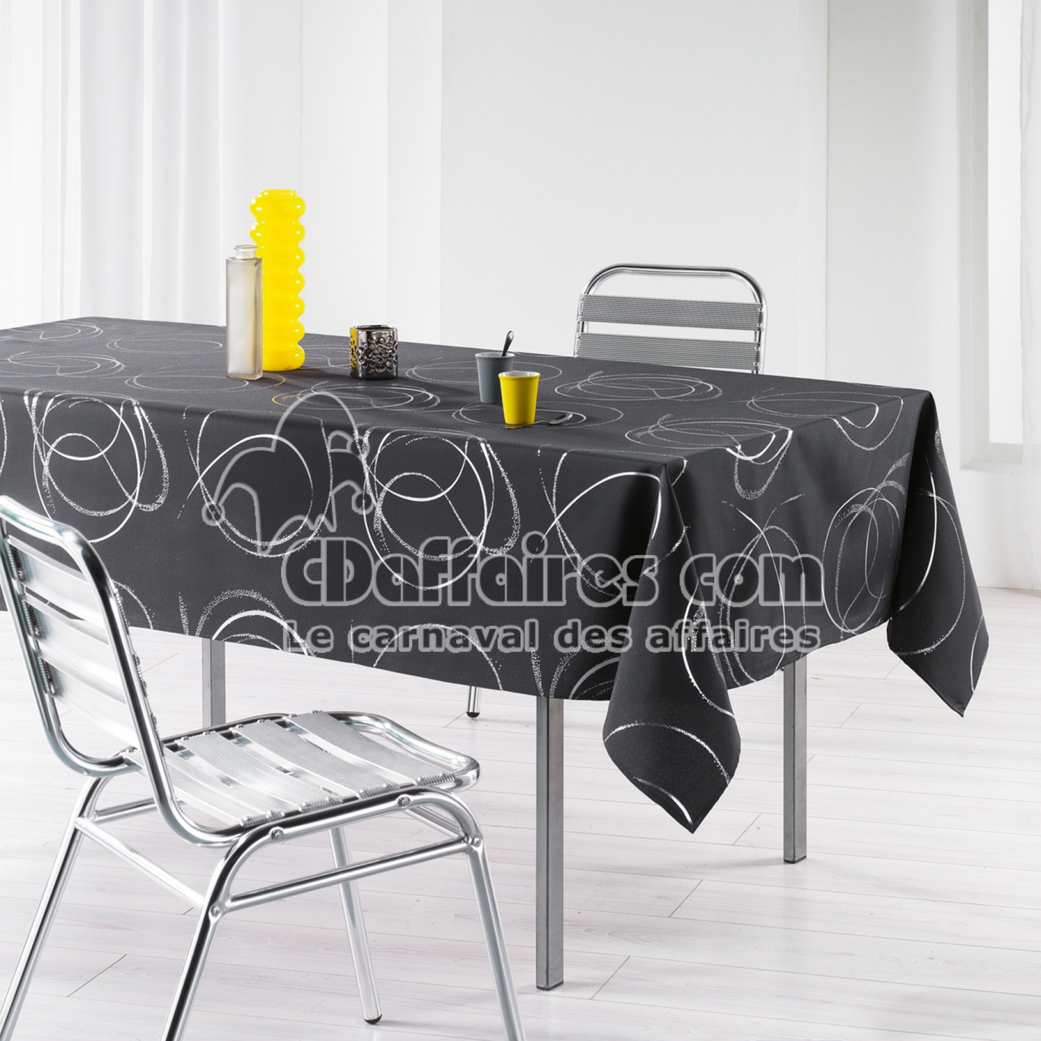 Rideaux Occultants Gris Anthracite Nappe Rectangle 150 X 240 Cm Polyester Imprime Argent