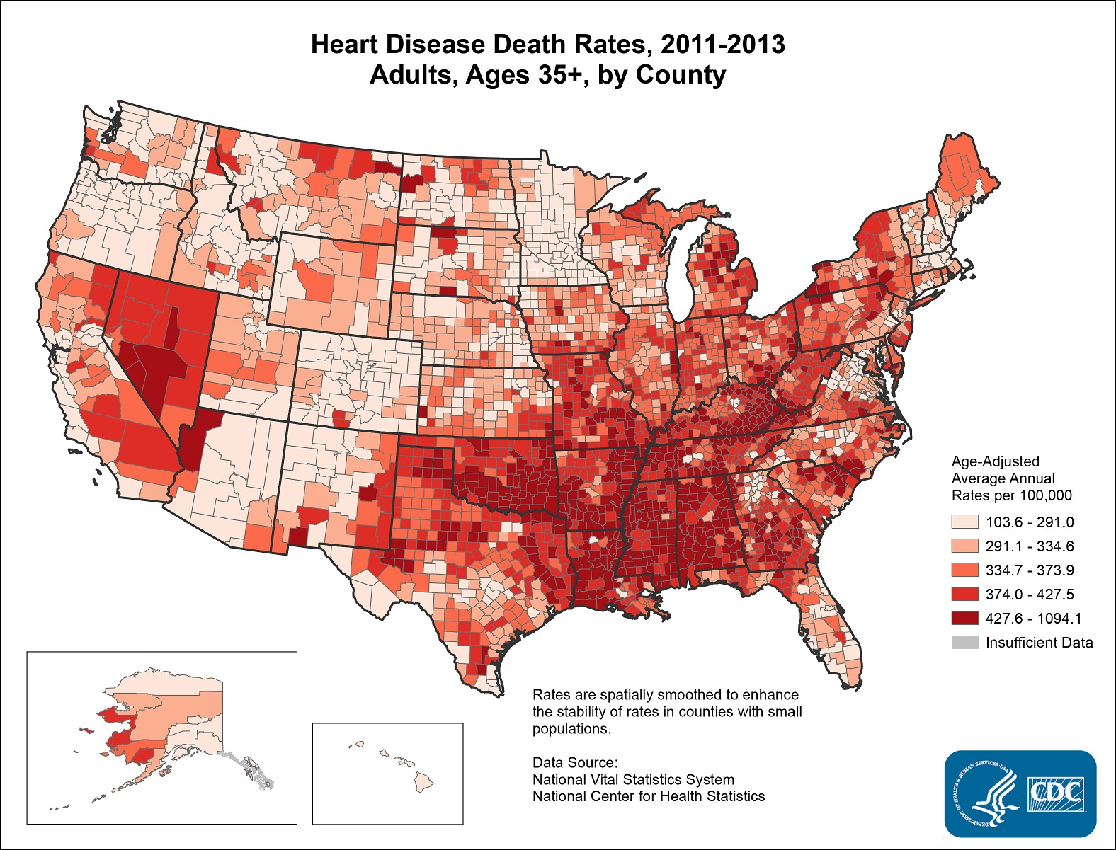 Prevalence Heart Disease Map Details Heart Disease Death Rates 2011 2013 Adults