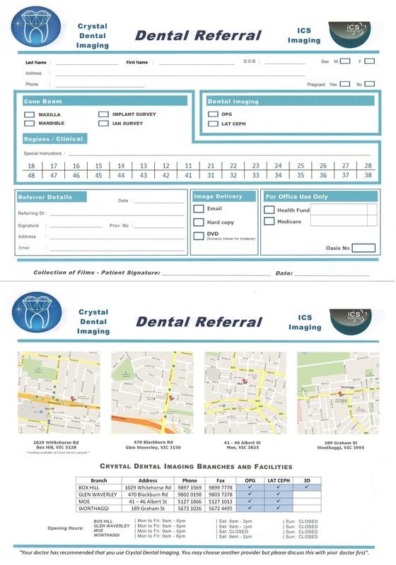 Referral Forms - Crystal Dental Imaging - Dental Imaging Radiology