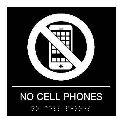 No Cell Phones - Graphic Braille Signs Emedco