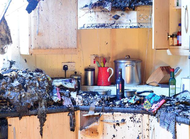 A small fire that started in a fuse box destroyed this family home